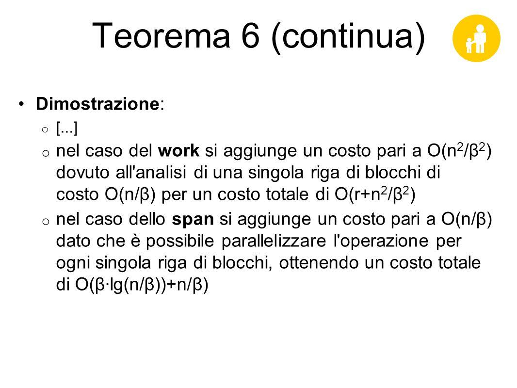 Teorema 6 (continua) Dimostrazione: [...]